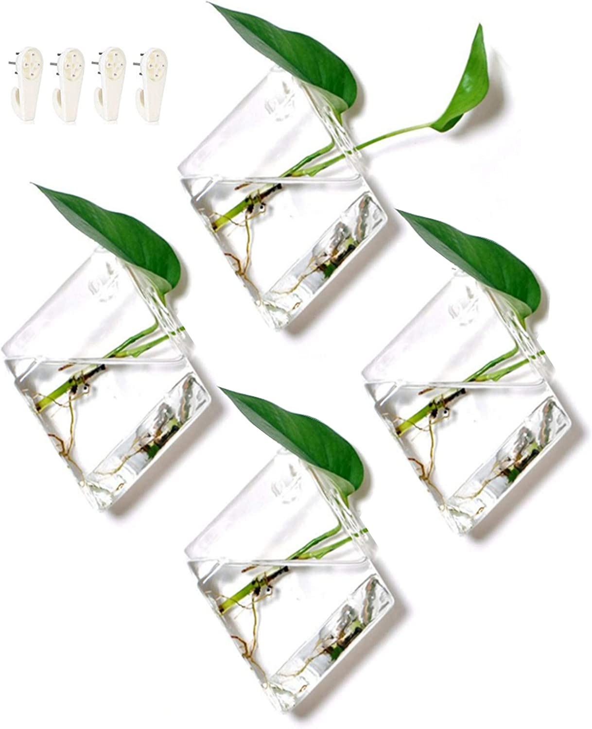 GeoTerrariums Diamond Terrariums Hanging Wall Planters, Clear Glass 7 x 5 inches , Pack of 4
