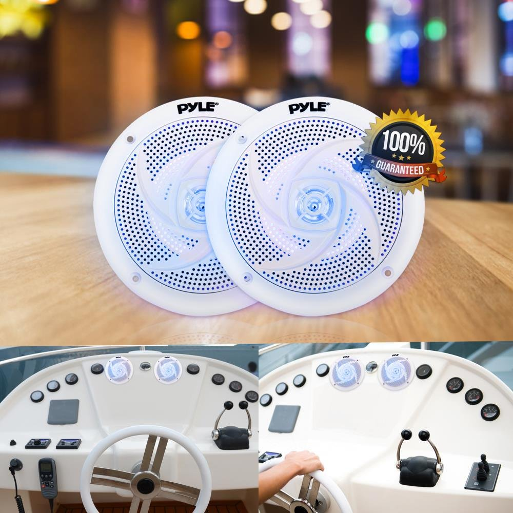 PLMRS53WL 1 Pair 180 Watt Power and Low Profile Slim Style 5.25 Inch 2 Way Waterproof and Weather Resistant Outdoor Audio Stereo Sound System with LED Lights Pyle Marine Speakers