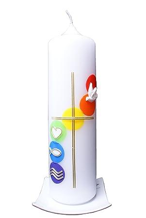 Kommunionkerze Aquarell 25x7 mit Karton, wird NUR auf
