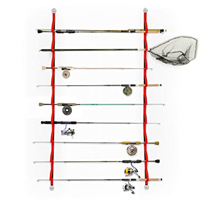 prosumer\u0027s choice 9 loop flexible fishing rod rack for garage, storage shed, boat or vehicle horizontal fishing rod rack plans fishing rod holder with automatic tip