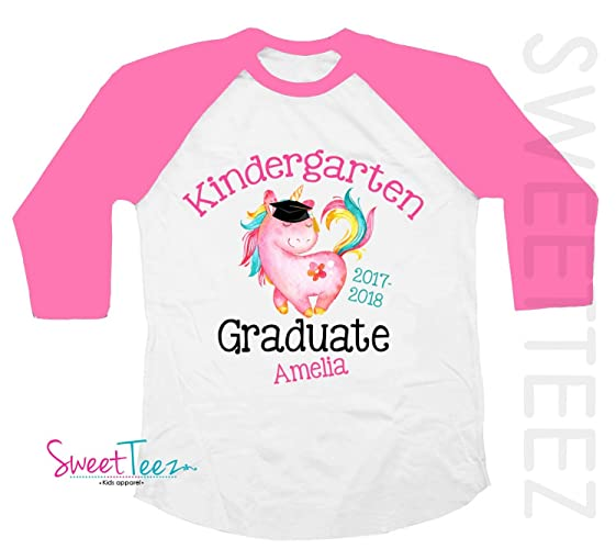 Amazon.com: Kindergarten Graduation Shirt, Personalized Kindergarten Graduation Shirt, Unicorn Shirt For Girls, Graduation Gift, Pink Shirt: Handmade