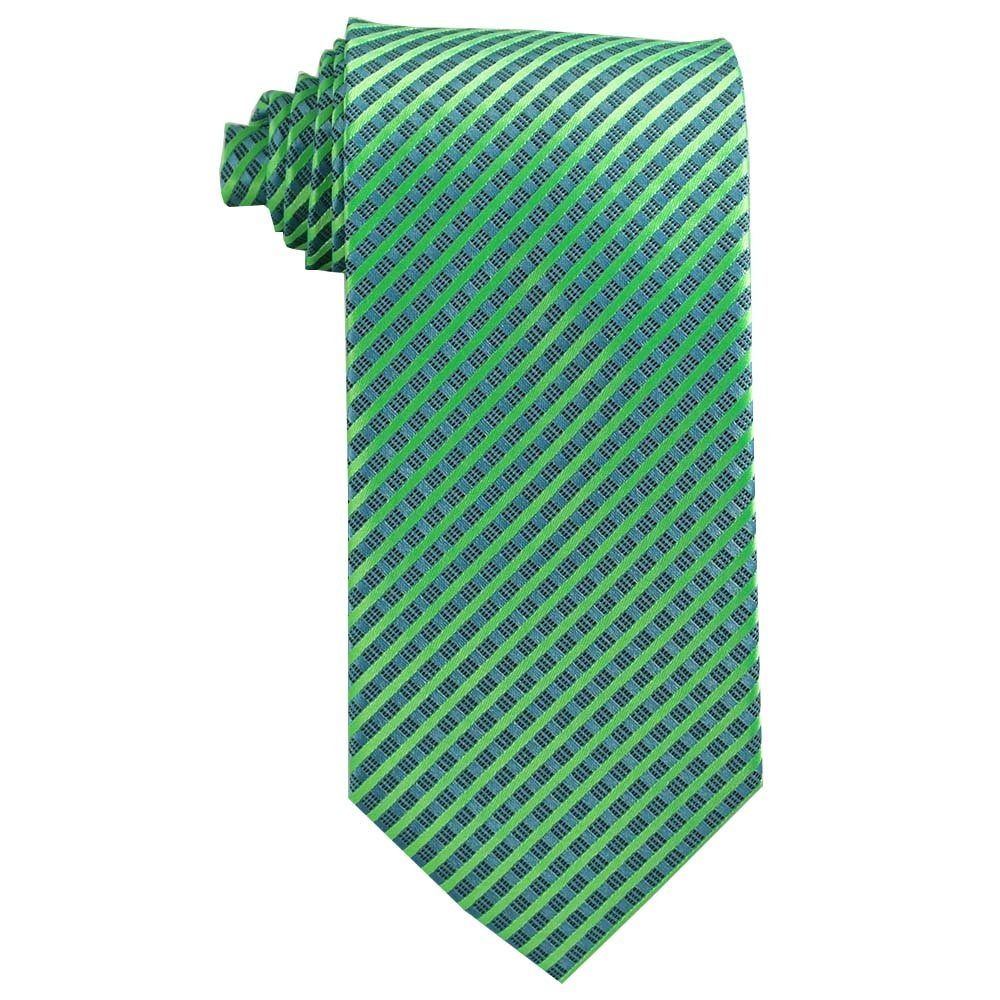 Youth Tie (Age 8-14 years old) Lime Green and Pool Blue Stripe Tie for boys age 8-14 Youth 400