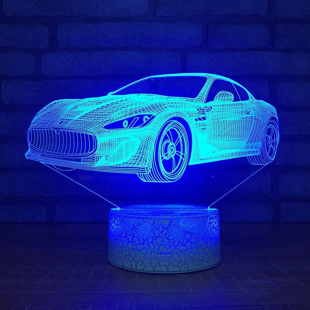 4 PACK, 3D Optical Illusion Nachtlicht Super Sportwagen LED Tisch Schreibtischlampe 7 Farbe automatisch wechselnden USB-Ladegerät Powerotfor Baby Schlafzimmer Dekoration Kinder Geschenk