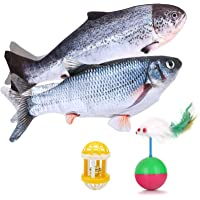 VMOPA 2 paquetes de juguete para gato de pescado, juguete eléctrico para gato y gato realista Floping Fish Cat Catnip…