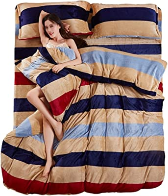 Coral velvet duvet cover Single Thicken [duplex] [winter] Warm quilt cover Student Single double quilt sets-A 220x240cm(87x94inch)