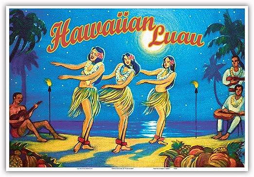 Vintage Travel Poster Art Print Rick Sharp Hula Dance Hawaiian Luau