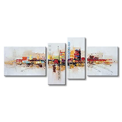 a4e58db1689 Winpeak Art Framed Handmade Abstract Oil Painting Canvas Wall Art Hanging Modern  Contemporary Cityscape Artwork Home