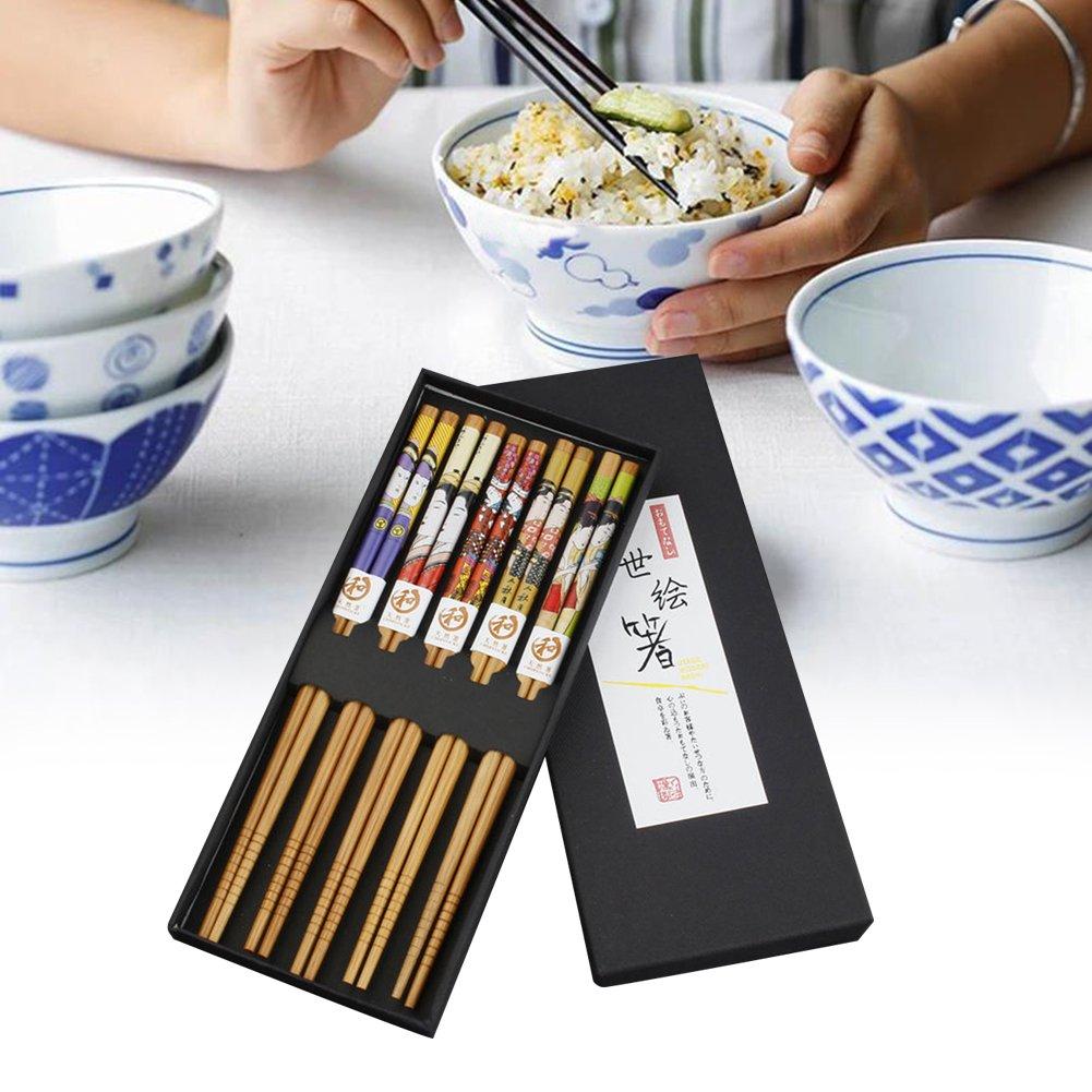 Somedays Juego de 5 Palillos de Madera de bamb/ú Palillos de Sushi Palillos japoneses Reutilizables vajilla China con Caja de Lujo Hecha a Mano Color Negro