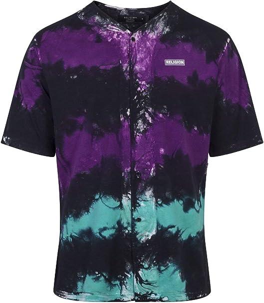 Religion Clothing - Camisa Baseball Mist – Morada/Negra/Turquesa - 10BMSH47 - S, Negro: Amazon.es: Ropa y accesorios