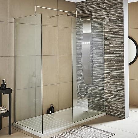 iBathUK mm Wetroom Shower Enclosure Glass Screen Panel Set