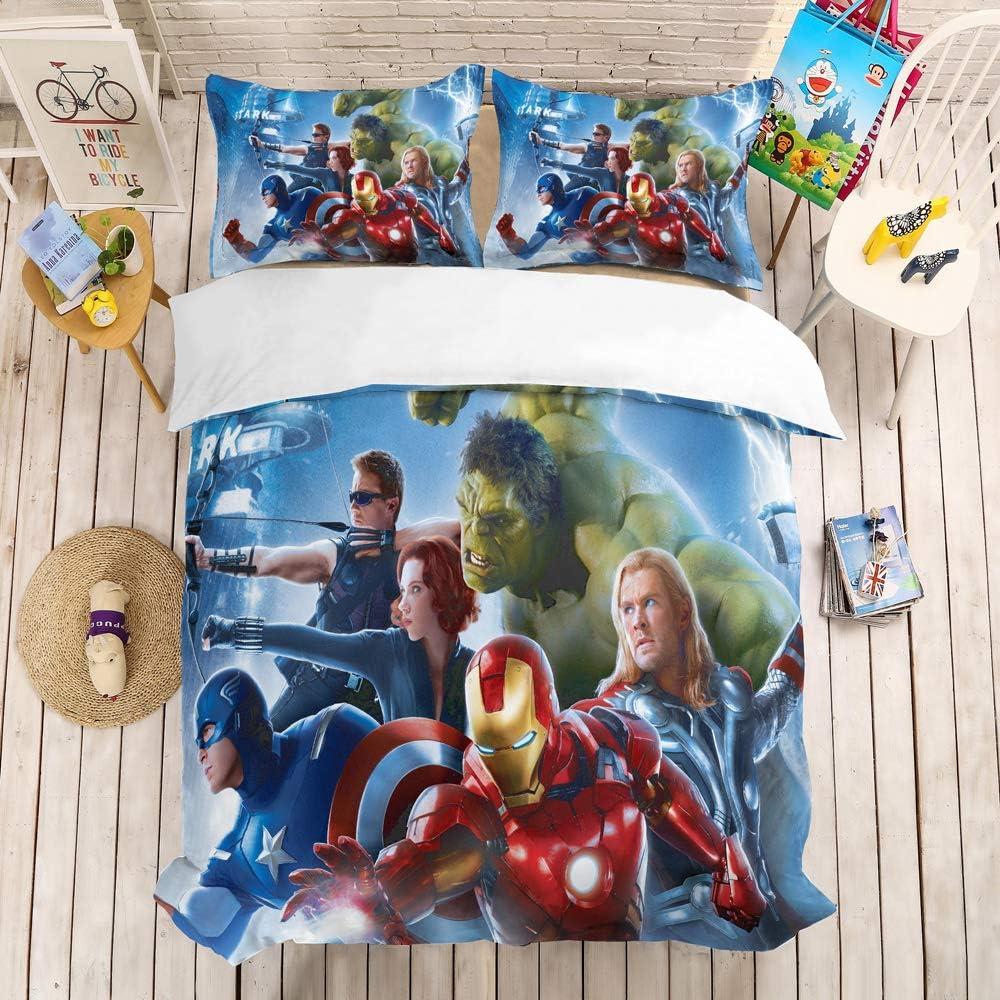 NOOS Marvel Avengers Bedding Set 3D Kids Duvet Cover Queen Size, Superhero Bedding Comforter Cover Set, Super Soft Microfiber Bed Set 3PC,1Duvet Cover, 2Pillowcases