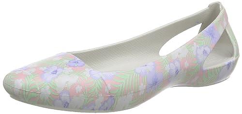 0367af9dadda Crocs Women s Siennagrphfltw Closed Toe Ballet Flats Light Pink Floral