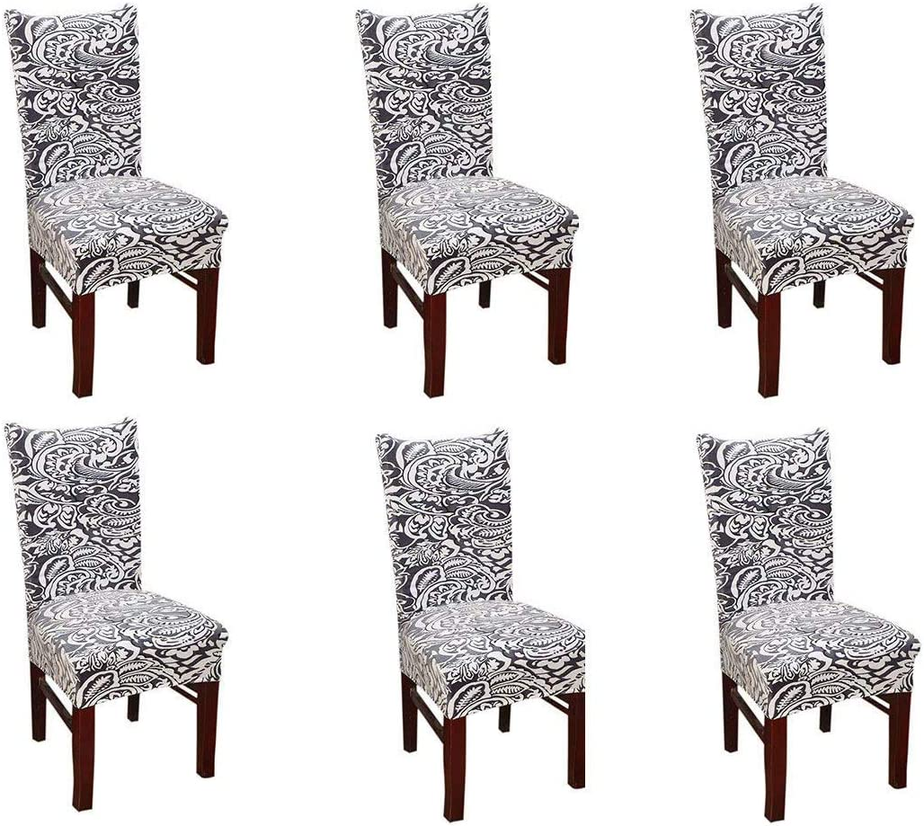 Pinji 4PCS Stretchy Thicken Dining Chair Cover Short Covers Protector Seat Slipcover Wedding Party Restaurant Home Decor White /&Grey