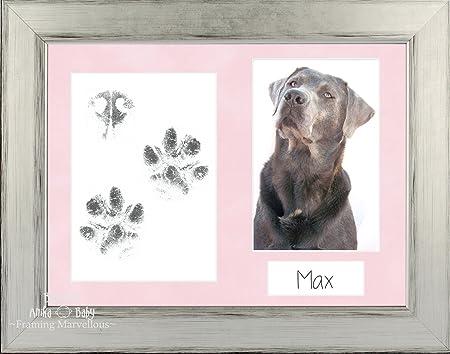 BabyRice Pet Dog Paw Print Pawprints Kit Silver Black Photo Picture Display  Frame Mottled Pink Set Pug Keepsake Memory Inkless Wipe Personalise