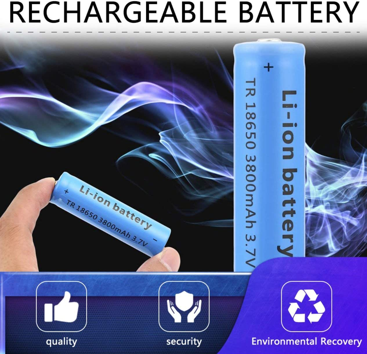 18650 Li-ion 3800mAh Grande Capacit/é 3.7V Rechargeable Battery for LED Torch Flashlights Blue New Torch Batteries 1Size Blue