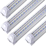 LED Shop Light Fixture 8FT ,T8 , 90W 11000LM 6000K, Cold White, V Shape, Clear Cover, Hight Output, Linkable Shop Lights…