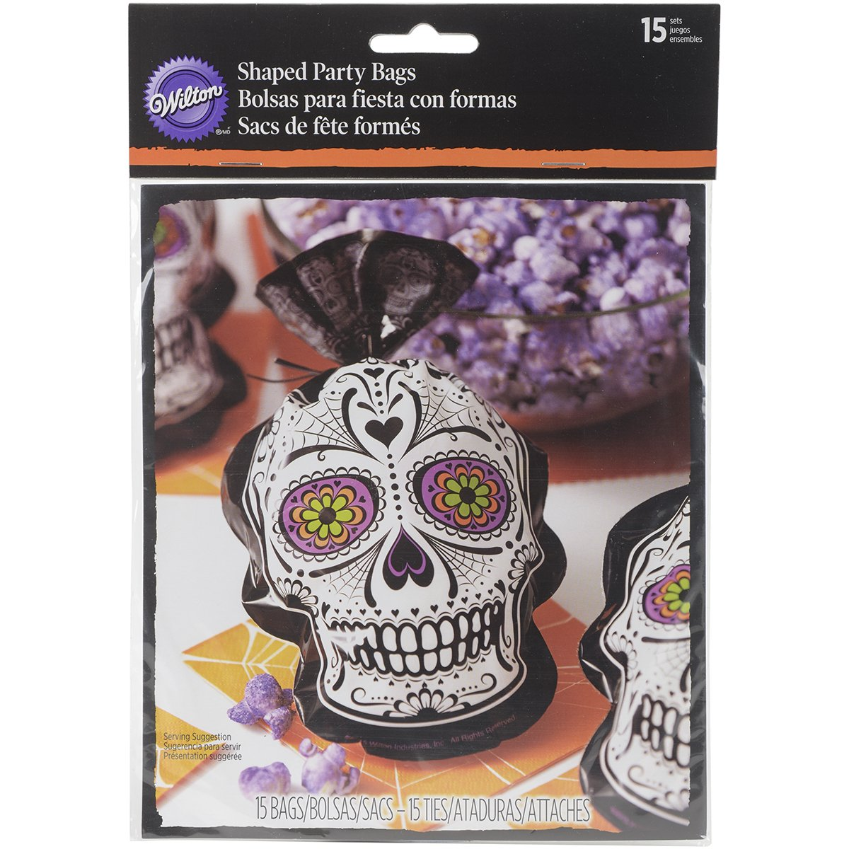 Wilton Deadly Soiree Day of the Dead Shaped Party Bag, Assorted 1912-0450 (15 pack)