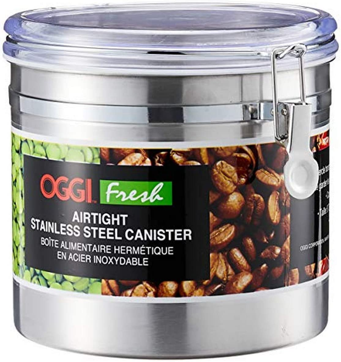 Oggi 150-ounce Stainless Steel Airtight Canister with Clear Arylic Lid and Locking Clamp