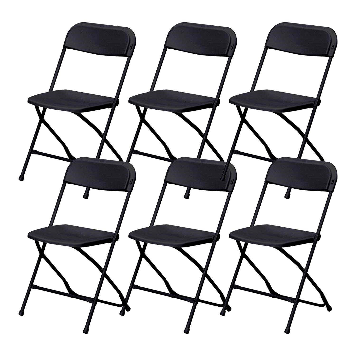 Black Plastic Folding Chairs Set of 6 Lightweight Folding Chairs,Folding Chair 300 lbs Weight Capacity for Events, Premium Lifetime Fold Up Chair Portable 18'' L x 18'' W x 31'' by ZeZe Chair