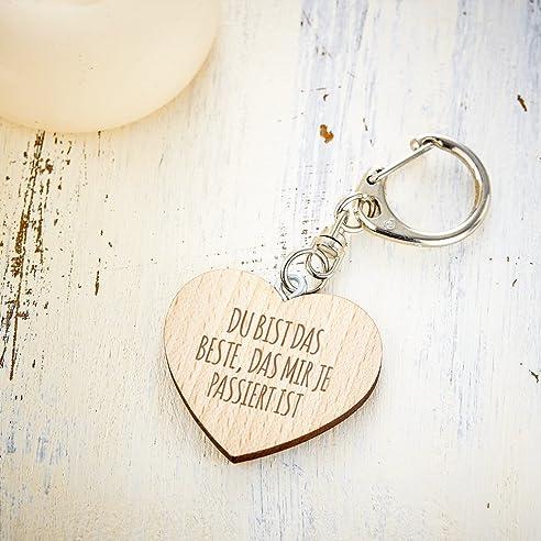 Schlüsselanhänger Aus Holz Mit Herz Und Gravur U2013 Du Bist Das Beste    Liebes Geschenk