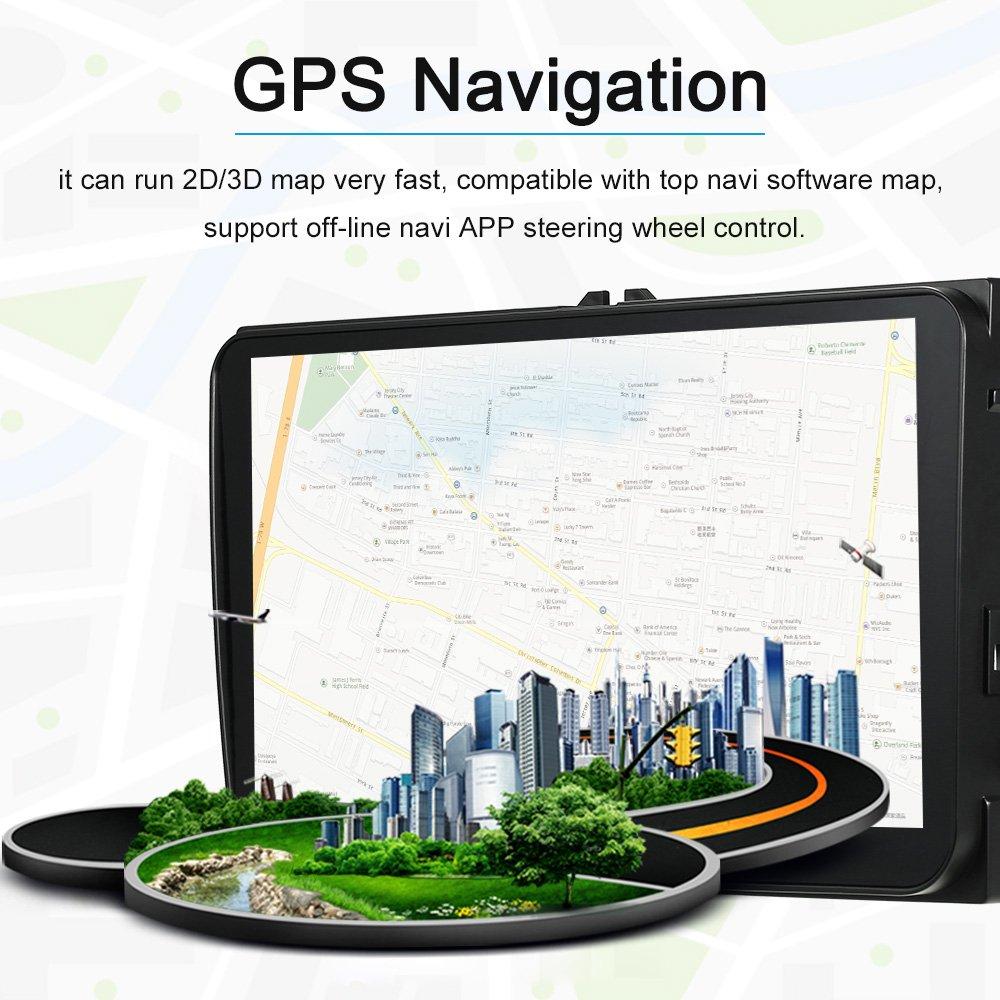 KKmoon 2 DIN Reproductor Multimedia 9 Full HD 1080P Pantalla Tactil GPS Navegador Soporte MirrorLink AUX SD//USB FM//Am
