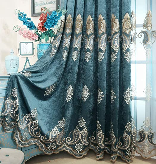 TIYANA European Curtains Extra Wide for Living Room 96 inch Long Chenille Jacquard Delicate Embroidery Curtains Blue Cloth Curtains Metal Grommet Top, 1 Panel, Blue Pepper, W114 x L96 inch