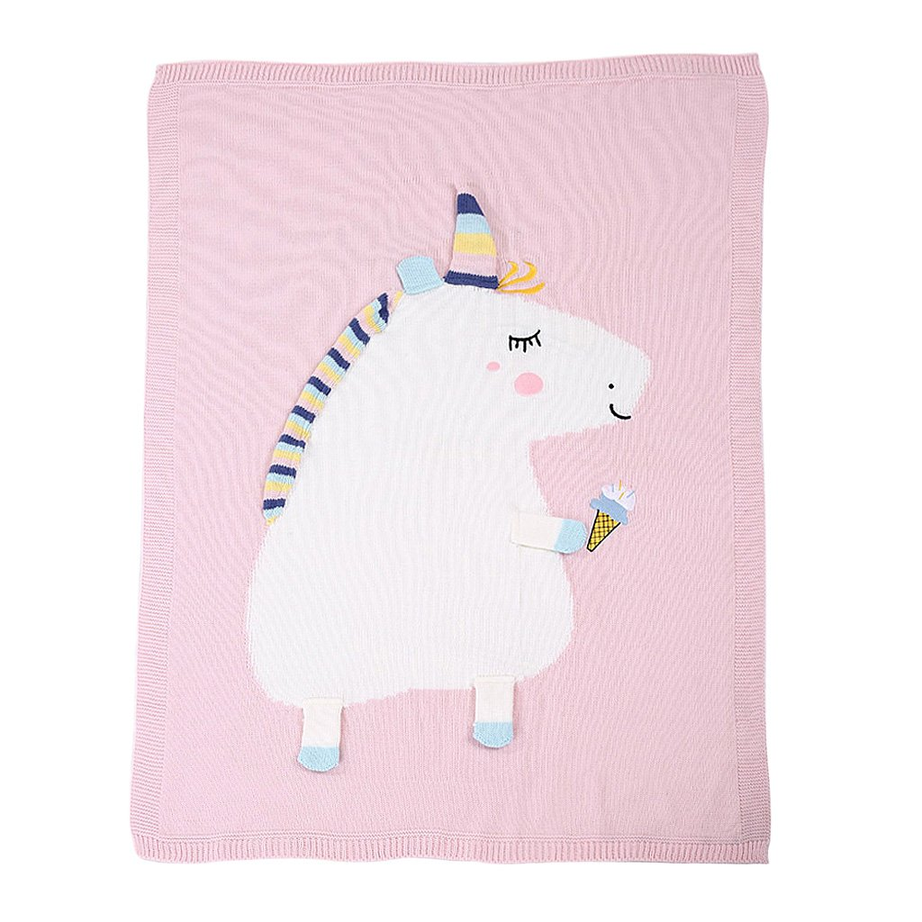 MonkeyJack Infant Baby Knitting Wool Unicorn Blanket Kids Crocheted Sofa Beach Quilt Rug - Pink, as described
