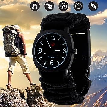Tongtao - Reloj de supervivencia, impermeable, para emergencias (cuenta con paracord de grado militar, brújula, silbato y encendedor): Amazon.es: Deportes y ...