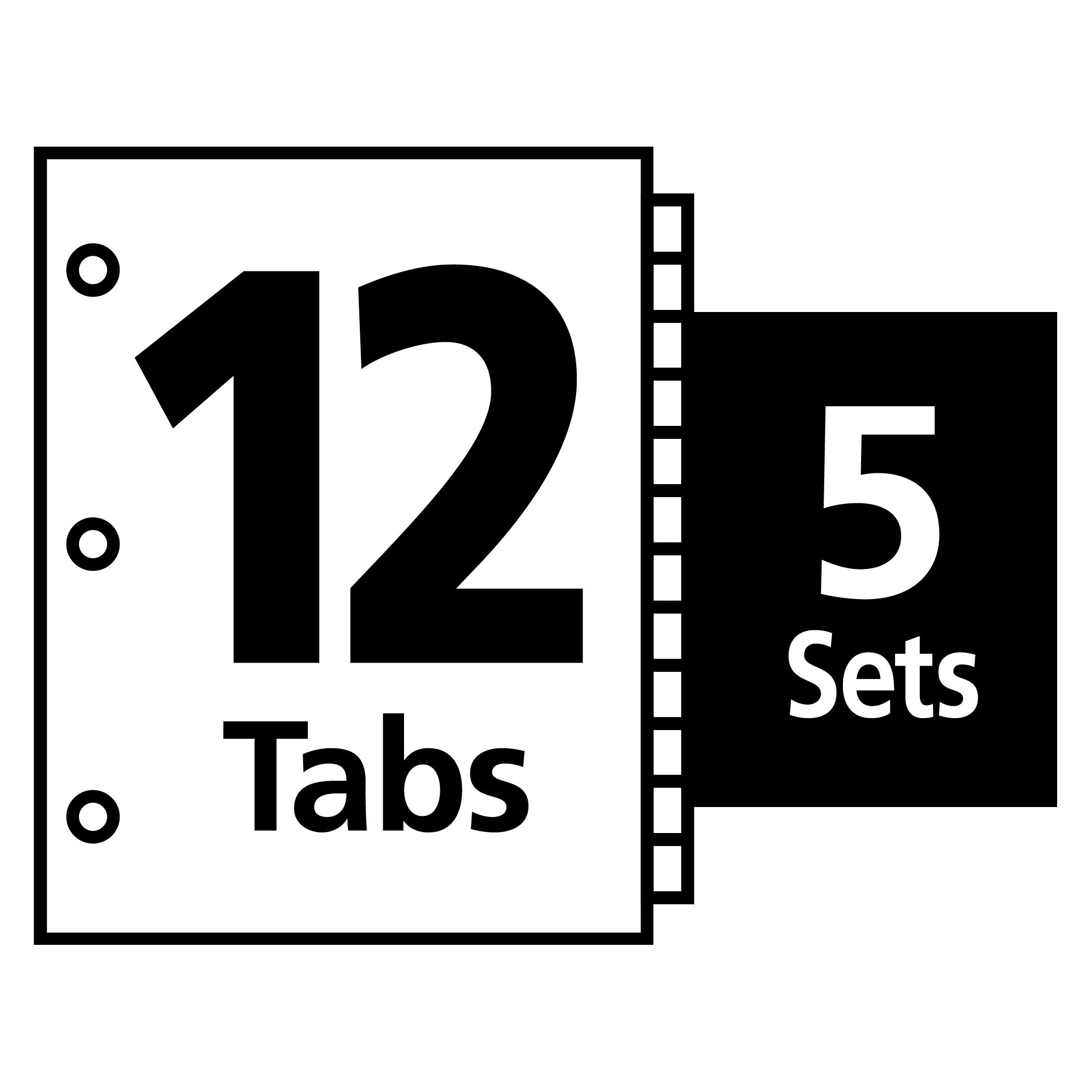 Avery Index Maker Clear Label 8-12 x 11 Inches Dividers with 12 White Tabs, 5 Pack (11429) by Avery (Image #3)