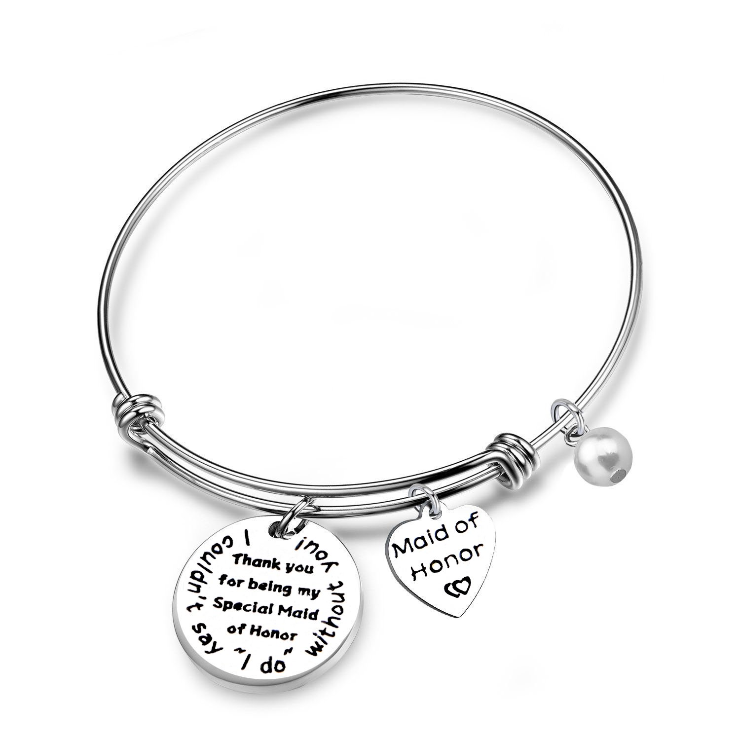 FEELMEM Maid of Honor Gift I Couldn't Say I Do Without You Bangle Bracelet Bridesmaid Jewelry Maid of Honor Proposal(I Couldn't Say I Do)