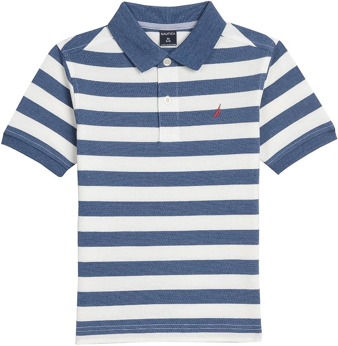 Nautica Boys Short Sleeve Striped Deck Polo Shirt