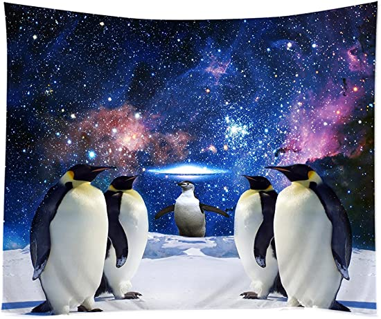 TSlook Hippie Tappassier Tapestry Bohemian Bedspread Funny Penguin Galaxy Nebula South Pole 40 x 60