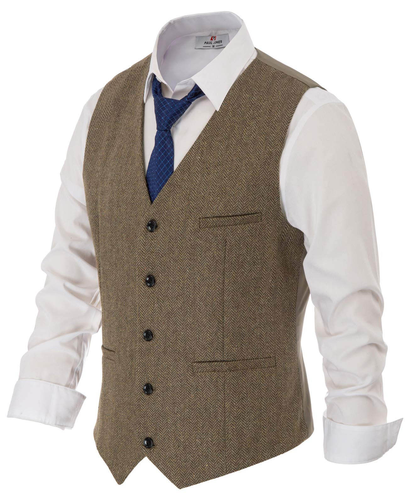 Mens Tweed Vest Premium Wool Blend Herringbone Wedding Vest 2XL Light Coffee by PAUL JONES