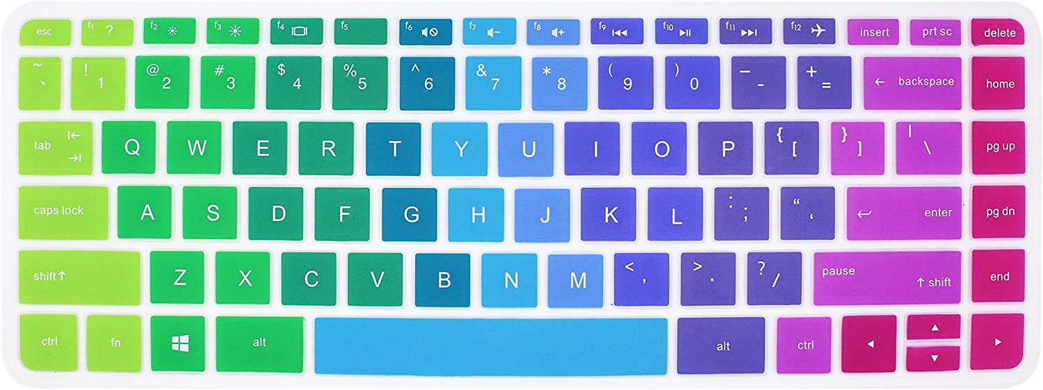 Silicone Keyboard Cover Skin for 14 inch HP Pavilion 14-ab 14-ac 14-ad 14-an, HP Stream 14-ax, HP Envy 14-j0 Series, 14-ab010 14-ab166us 14-ac159nr 14-an010nr 14-an013nr 14-an080nr (Rainbow)