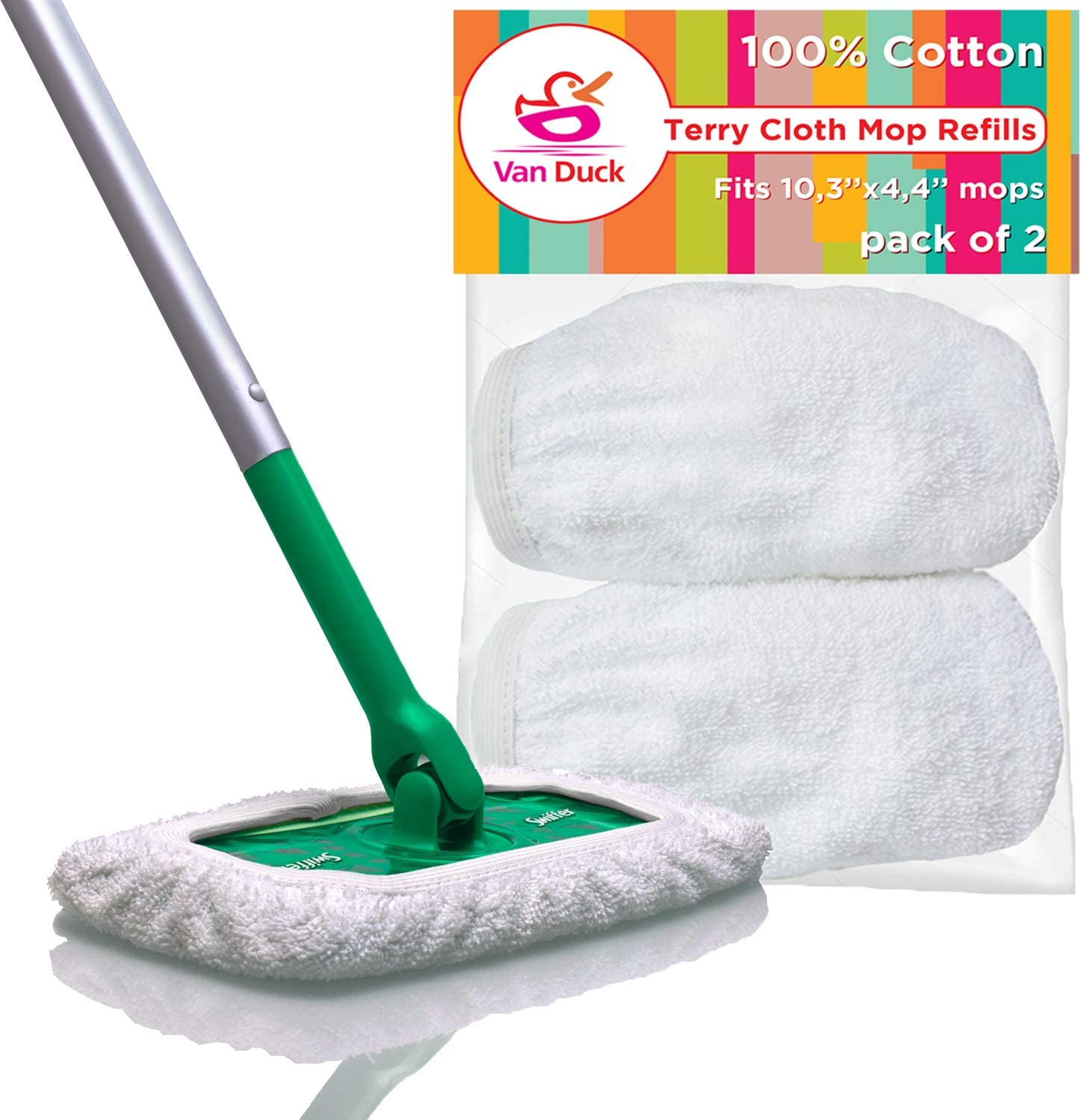VanDuck Reusable 100% Cotton Mop Pads Compatible Swiffer Sweeper 2-Pack