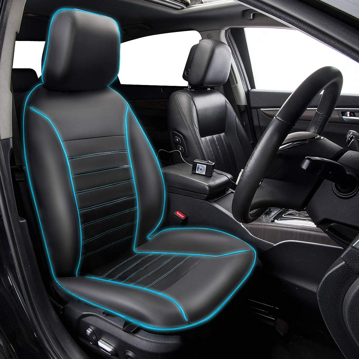 CAR PASS LED Light Car Seat Covers Black with Blue Front Seat