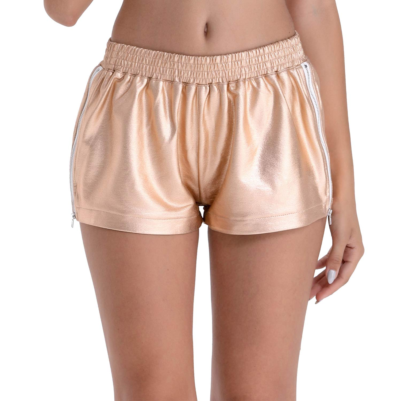 BARGOOS Women's Summer Yoga Casual Shiny Metallic Hot Shorts Pants with Zipper