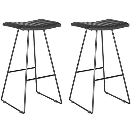 Incredible Safavieh Home Collection Akito Mid Century Modern Black 30 Inch Bar Stool Set Of 2 Cjindustries Chair Design For Home Cjindustriesco