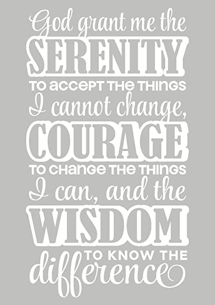 Wall Décor Plus More WDPM2276 Serenity Prayer Verse Wall Vinyl Sticker  Decal for Courage and Strength, 13x23-Inch, White