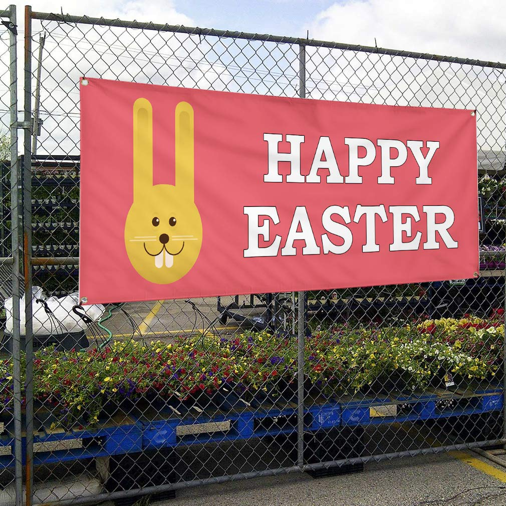Vinyl Banner Sign Happy Easter Bunny Pink Easter Outdoor Marketing Advertising Pink Multiple Sizes Available Set of 2 6 Grommets 32inx80in