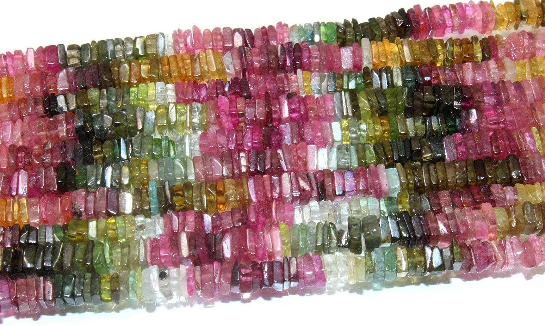 Jaipur Gems Mart Turmalina Multi Naturales | 4-5 mm de Lado Heishi de Bolas para Hacer la joyería | 10
