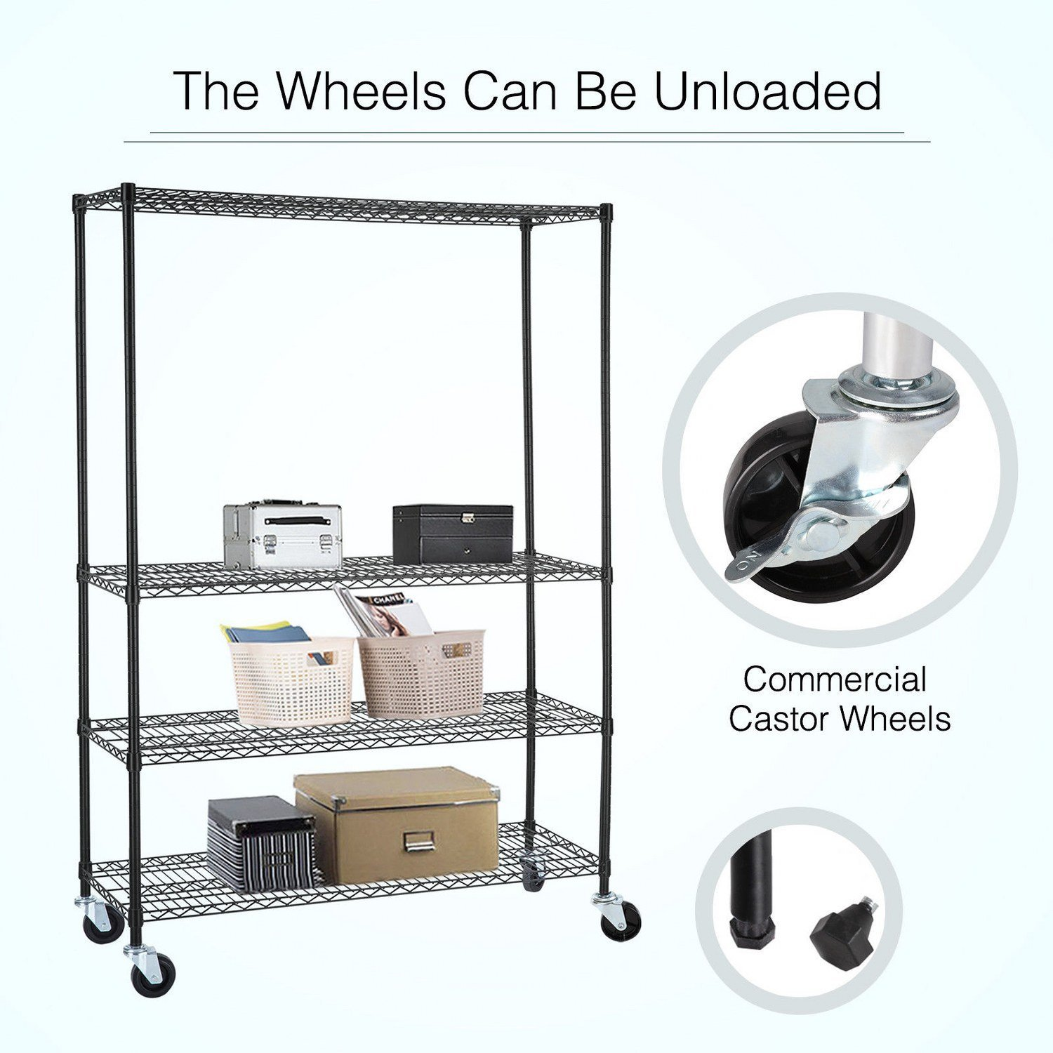 Adjustable Heavy Duty 4 Tier Shelving Rack Weight Capacity 200 Lbs. Steel Wire Metal Shelf New by Okapi (Image #3)