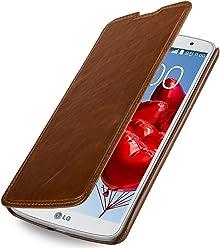 StilGut Housse UltraSlim, style Book Type en cuir pour LG G Pro 2, cognac