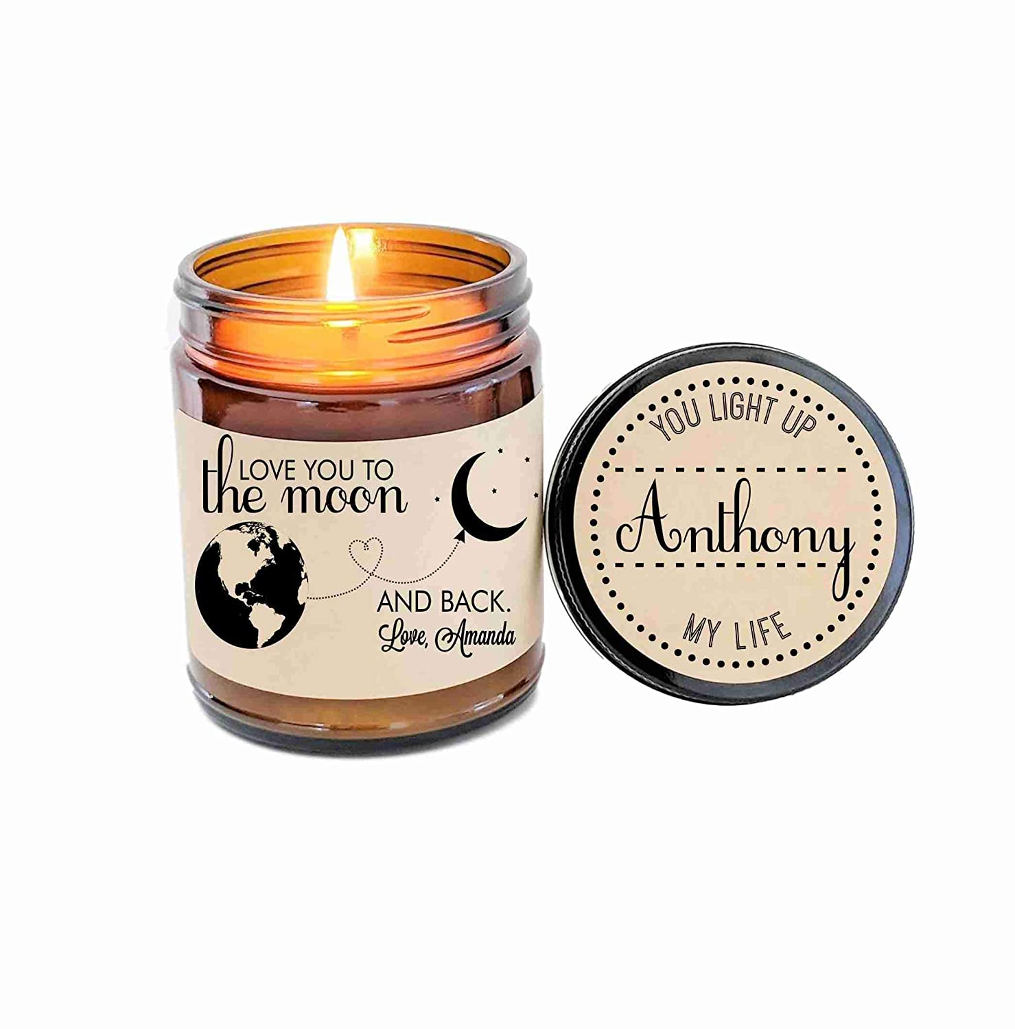 Love You To The Moon And Back Personalized Candle Gift for Mom Mothers Day Gift For Wife Valentines Day Gift Personalized Gift for Mom