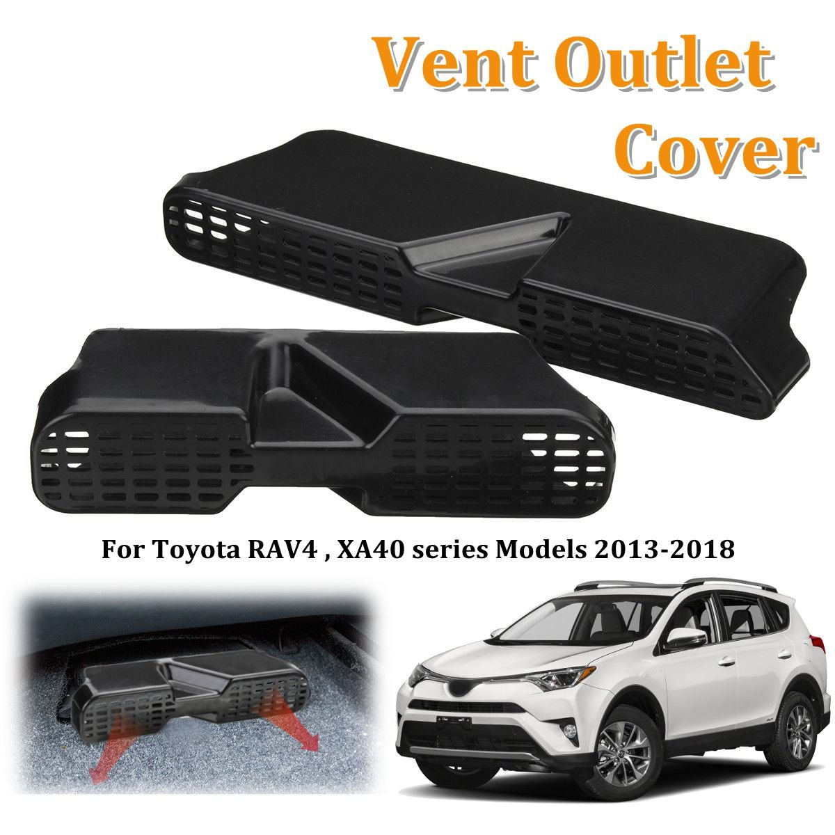 MONNY Car Vent Outlet Protective Cover Under Seat Floor Air Conditioner AC Air Duct Grille for Toyota RAV4 XA40 Series 2013-2018