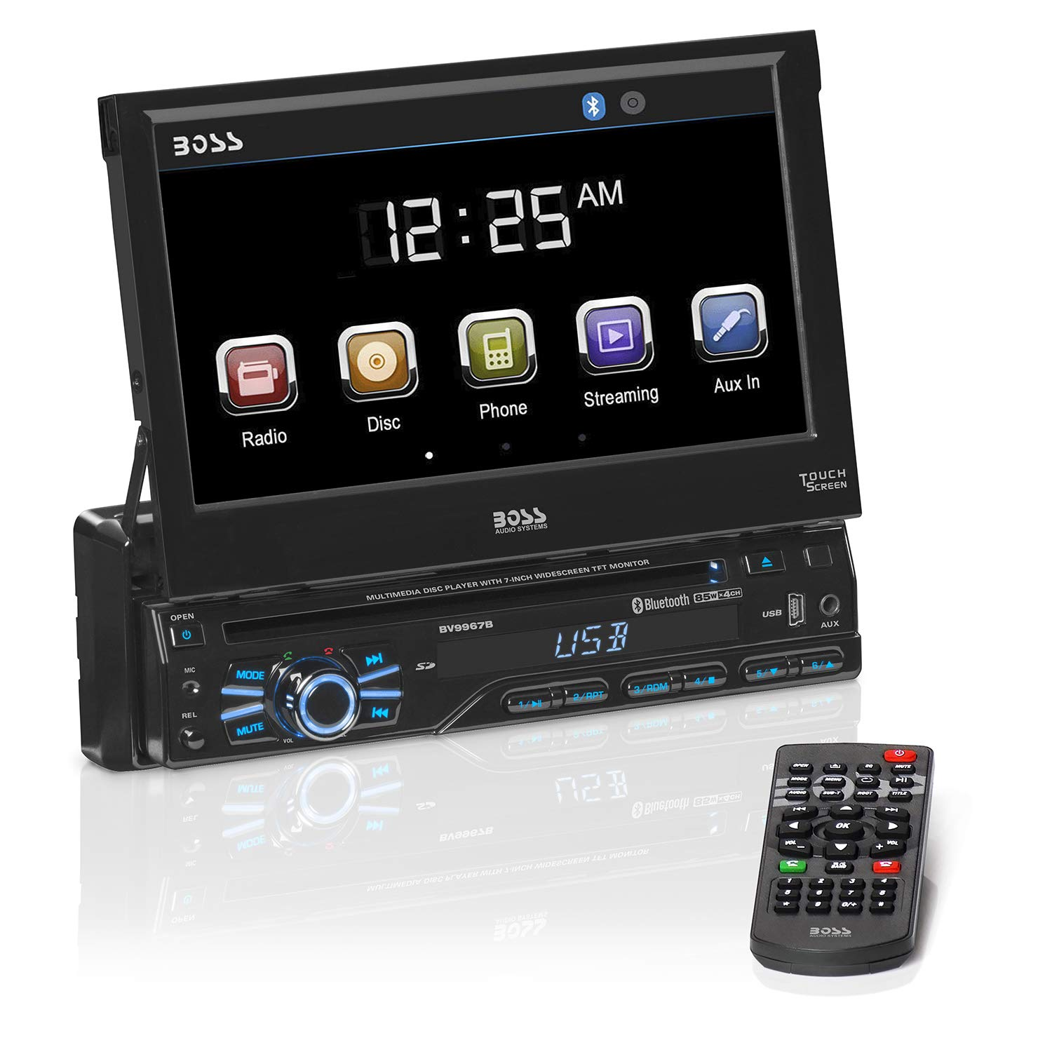 BOSS Audio Systems BV9967B Single Din, Touchscreen, Bluetooth, DVD CD MP3 USB SD AM FM Car Stereo, 7 Inch Digital LCD Monitor, Detachable Front Panel, Wireless Remote by BOSS Audio Systems