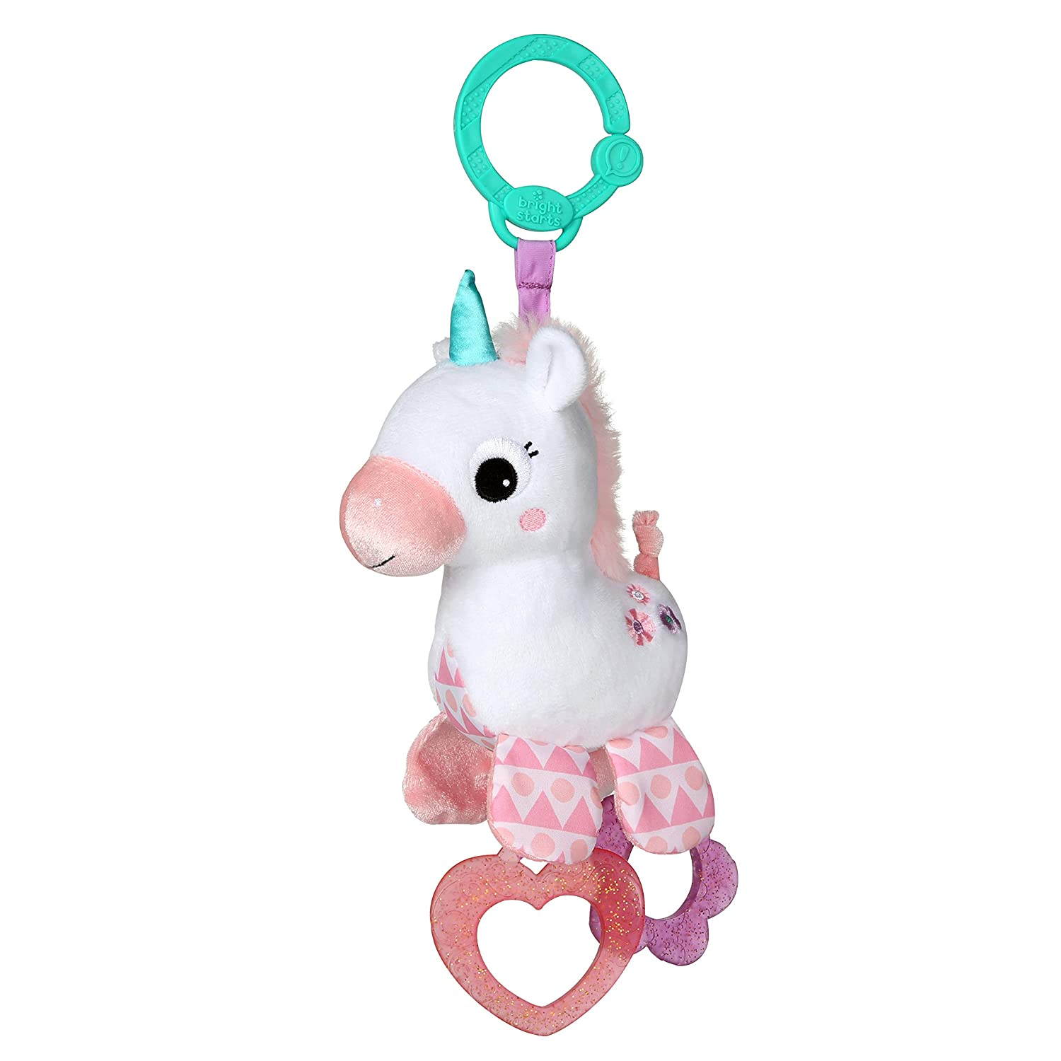 Bright Starts Sparkle & Shine Unicorn On-The-Go Take-Along Toy, Ages Newborn +