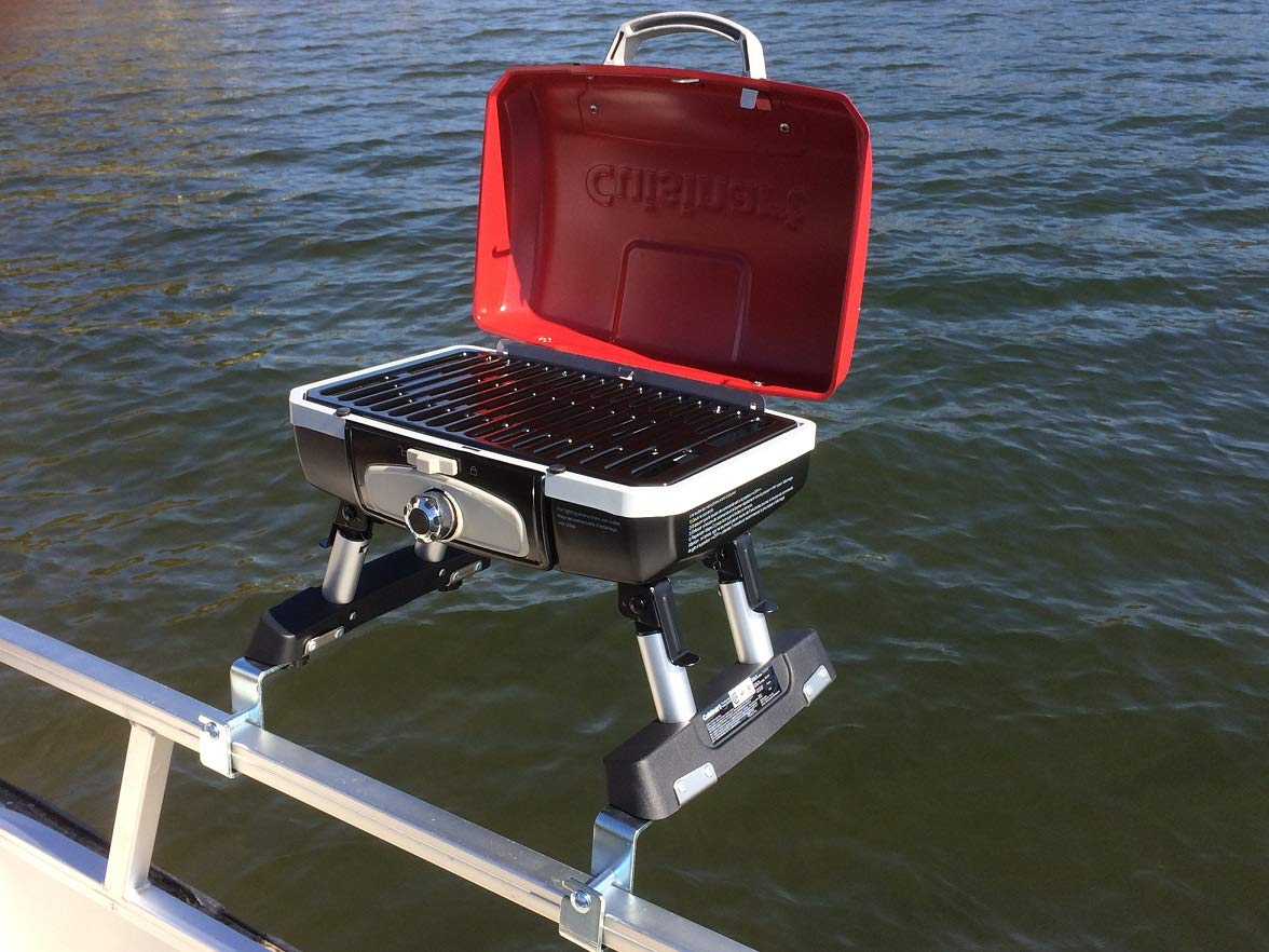 Cuisinart Grill Modified for Pontoon Boat with Arnall's Stainless Grill Bracket Set RED by Cuisinart
