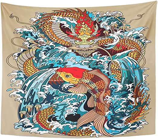 Vintage Art Print Poster Fish Fabric Wall Hangings Tapesty