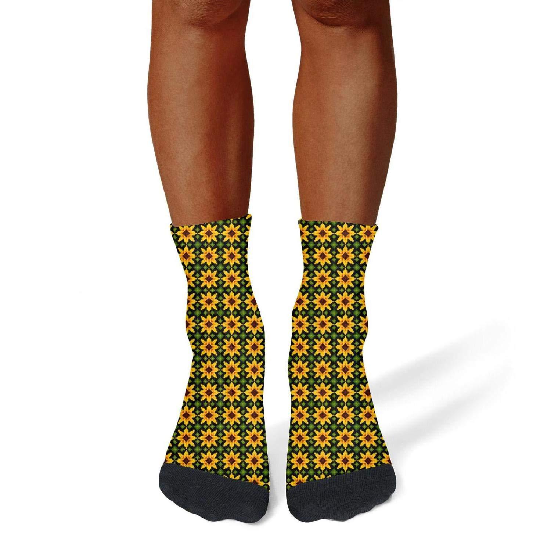 Tasbon Migny Hills Mens All-Season Sports Socks Ethnic Sunflower Brown Athletic Socks for Men